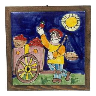 1960s Large DeSimone Hand Painted Ceramic Tile For Sale