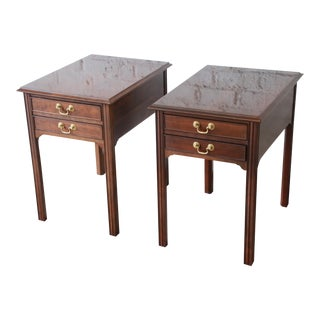 L. & J. G. Stickley Georgian Style Cherry Wood Nightstands or End Tables, Pair For Sale