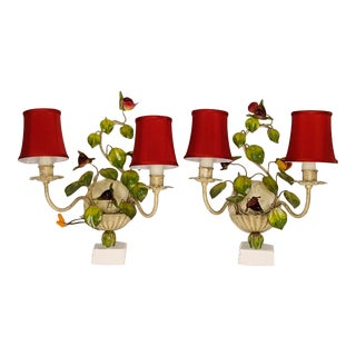 Pair of Rose Tole Sconce With Shades For Sale