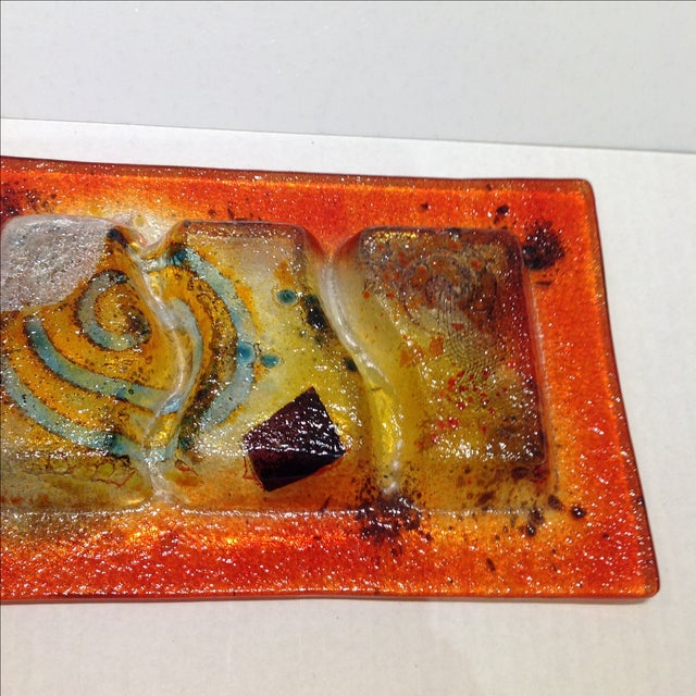 Fused Glass Art Dish For Sale - Image 10 of 10
