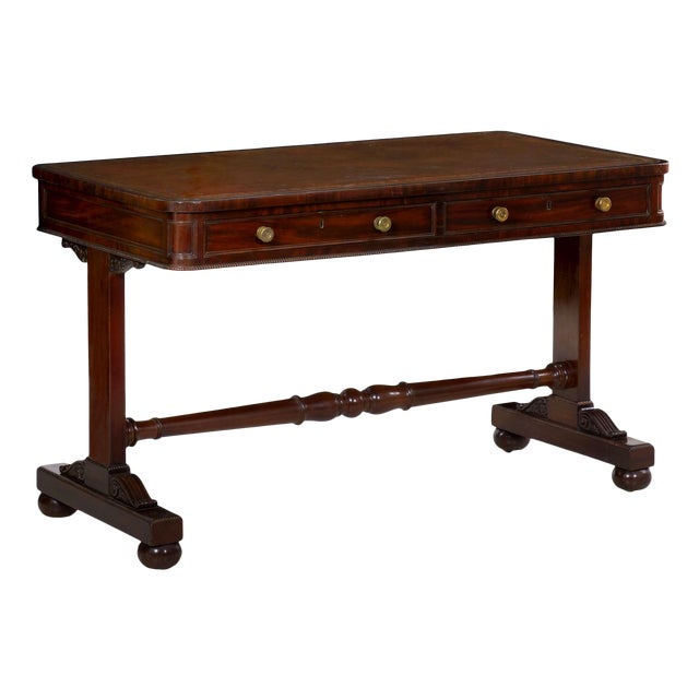 19th Century English George IV Antique Writing Table Desk W/ Leather Top For Sale