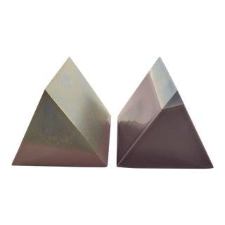 Modern Ceramic Prisms - a Pair For Sale