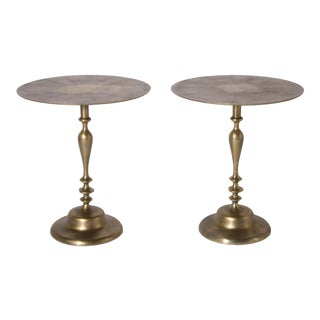 Alberto Pinto Brass Tables Designed for the Ritz - a Pair For Sale