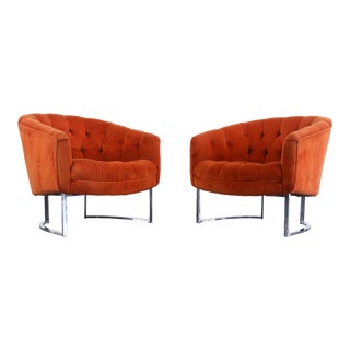 1970s Vintage Milo Baughman for Thayer Coggin Lounge Chairs- A Pair For Sale
