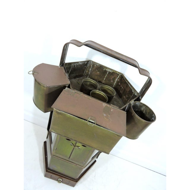 Asian Vintage Chinese Hawkers Brass Food Cart With Stand For Sale - Image 3 of 6