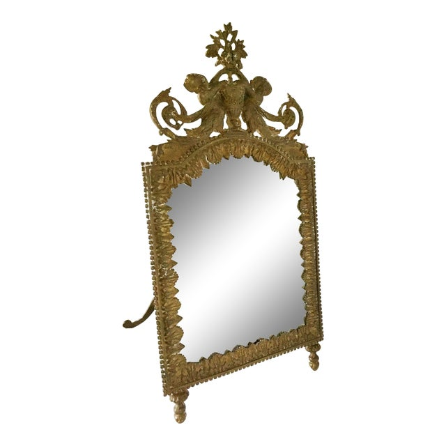 Antique Brass Cherub Table Top Easel Back Mirror - Image 1 of 5