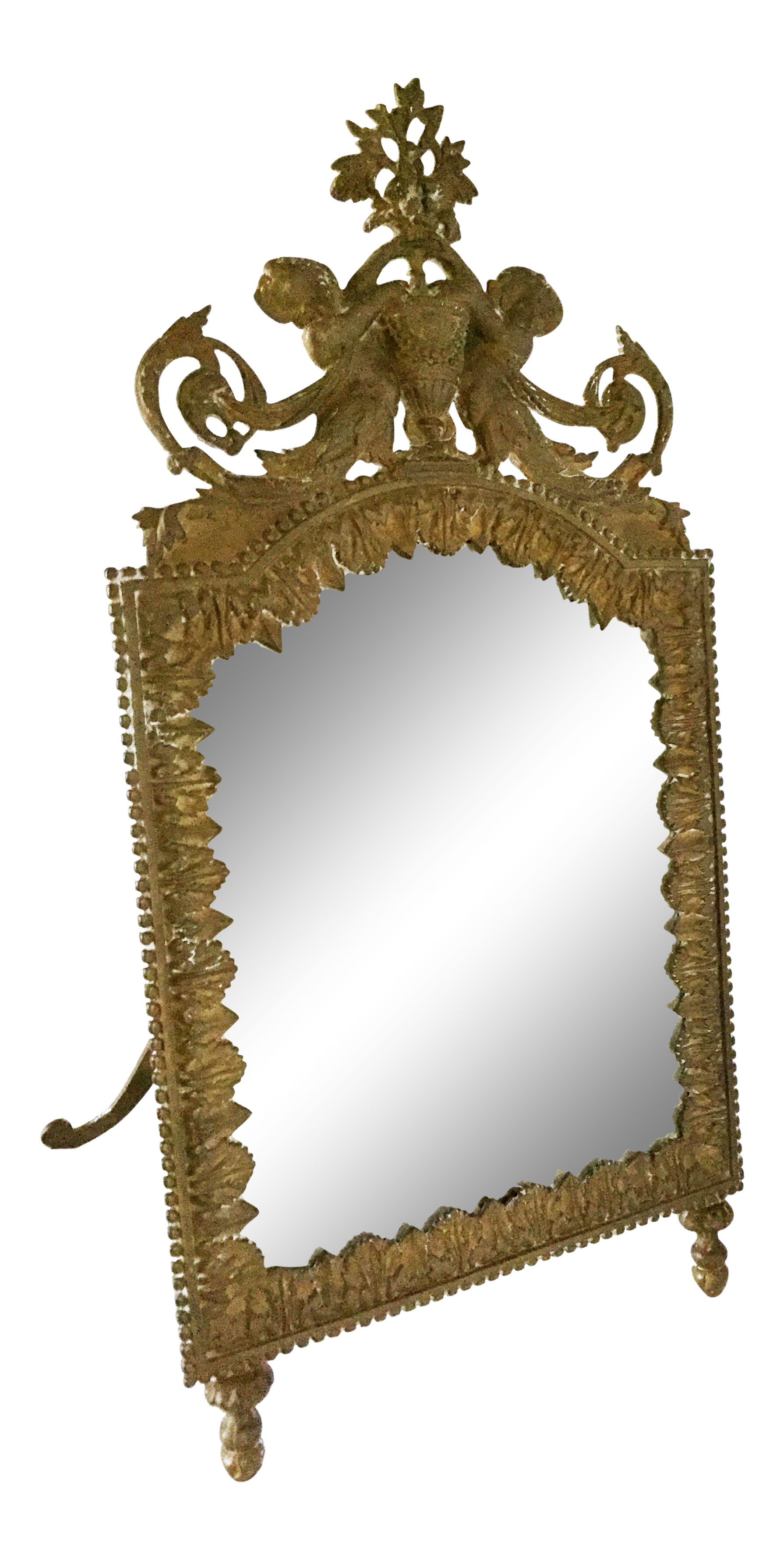 Antique Brass Cherub Table Top Easel Back Mirror   Image 1 Of 5
