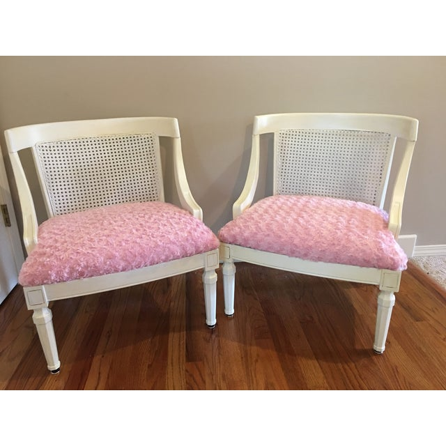 Vintage Pink Textured Rosebud Chairs - A Pair - Image 2 of 5