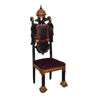 Hand Carved Double Headed Eagle Coat of Arms Painted Throne Chair For Sale