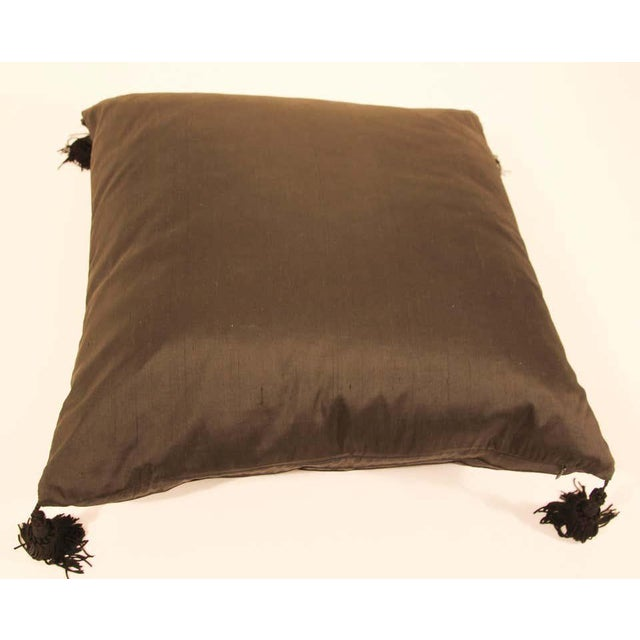 Embroidered Black Silk Decorative Throw Pillow with Tassels For Sale - Image 10 of 11