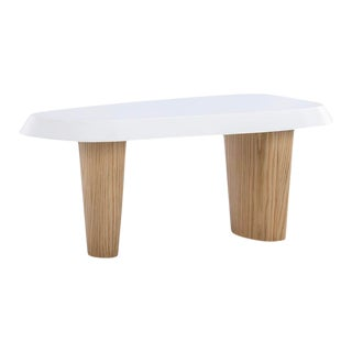 Vesta Cato Coffee Table in Small in White and Natural For Sale