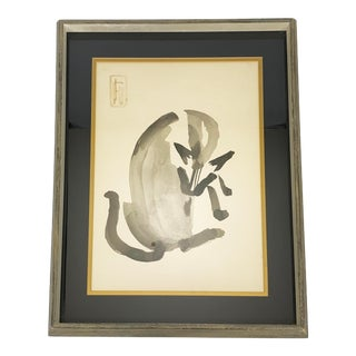 Mid-Century Modern Original Framed Sumi-E Siamese Cat Ink Painting For Sale