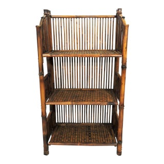 Folding Vintage Three Tier Bamboo Shelf or Étagere, Traditional Bookcase For Sale