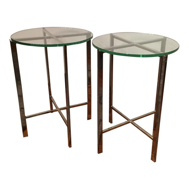 HD Buttercup Chrome & Glass Side Table - A Pair - Image 1 of 6