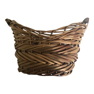 Two-Handled Gold Woven Basket For Sale