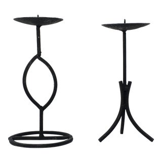 1990s Vintage Modernist Candle Holders - A Pair For Sale