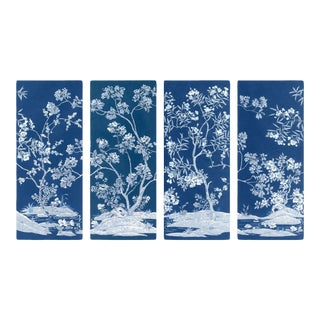 Blue Tree Panel, Unframed Artwork - Set Of 4 For Sale