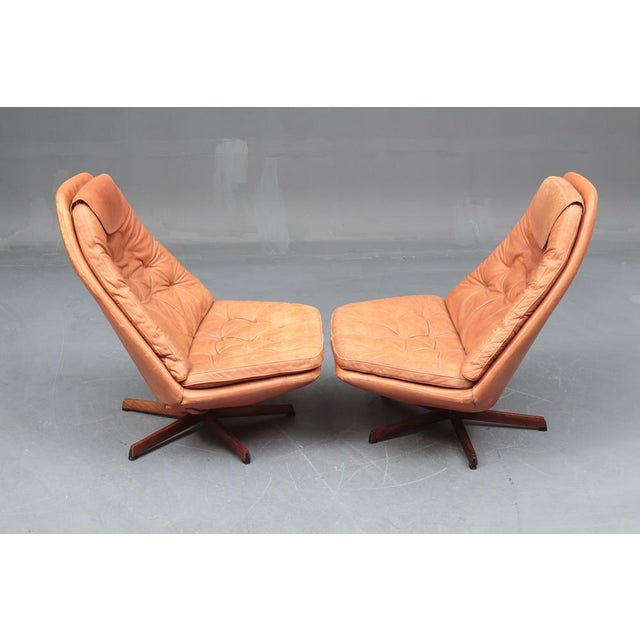 Danish Leather Swivel Chairs & Ottomans - A Pair For Sale - Image 4 of 11