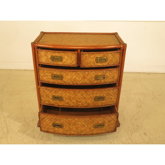 MAITLAND SMITH Bow Front Woven Leather Chest. Age: Approx: 20 Years Old Details: Recessed Brass Hardware Bamboo Frame &...