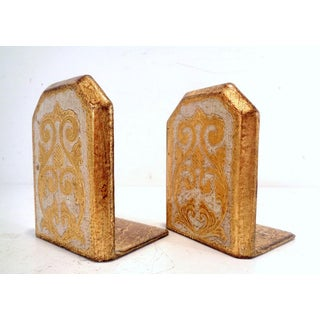 1960's Italian Florentine Hand Painted Gold Gilt Bookends Preview