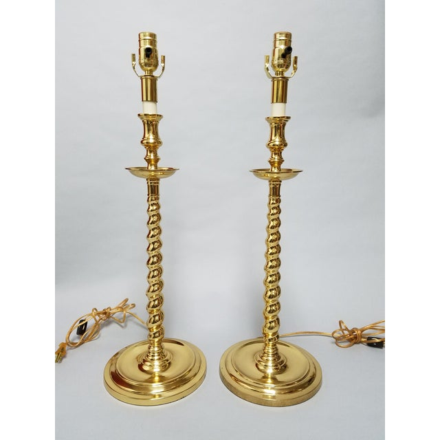 Chapman Brass Table Lamps - a Pair For Sale - Image 10 of 10