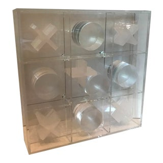 Modern Acrylic Lucite Tic Tac Toe Sculpture Puzzle Game For Sale