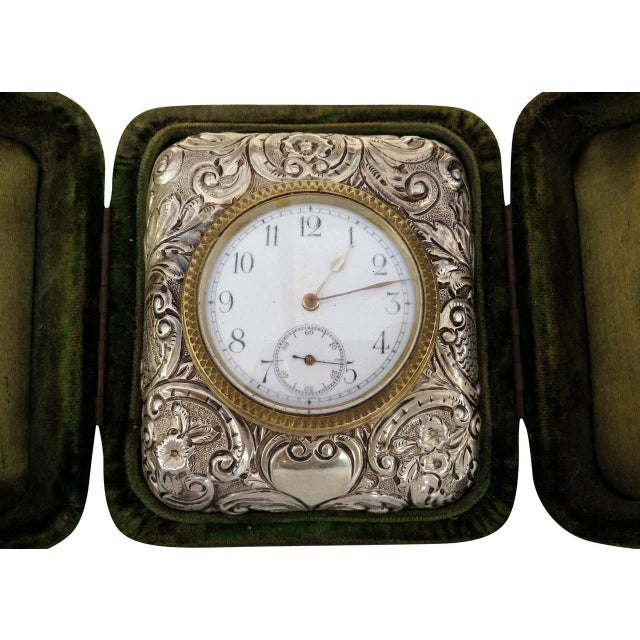 Victorian Silver Embossed Bed Side Clock by Douglas Clock Company - Image 3 of 7