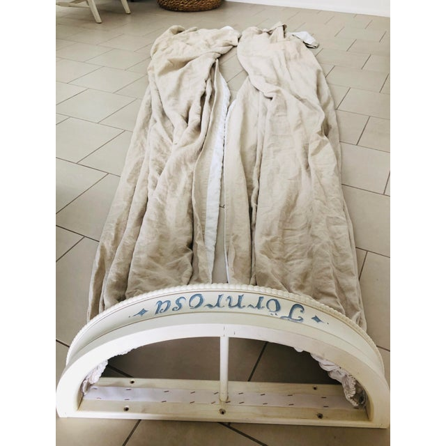 White Swedish Gustavian Bed Canopy With Linen Drapery For Sale - Image 8 of 13