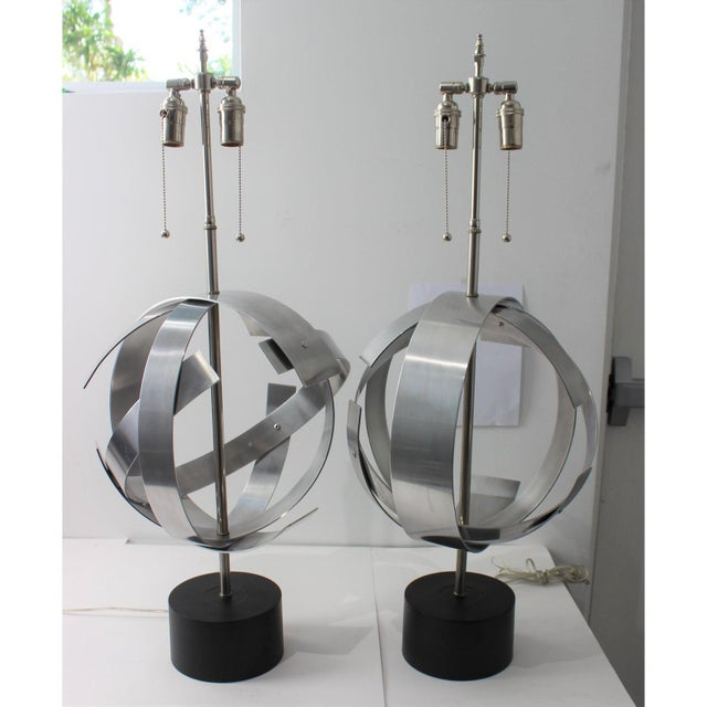 Vintage Modern Armillary Style Aluminum Table Lamps - the Pair For Sale - Image 4 of 13