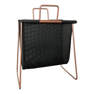 Copper and Mesh Magazine Cradle Rack For Sale
