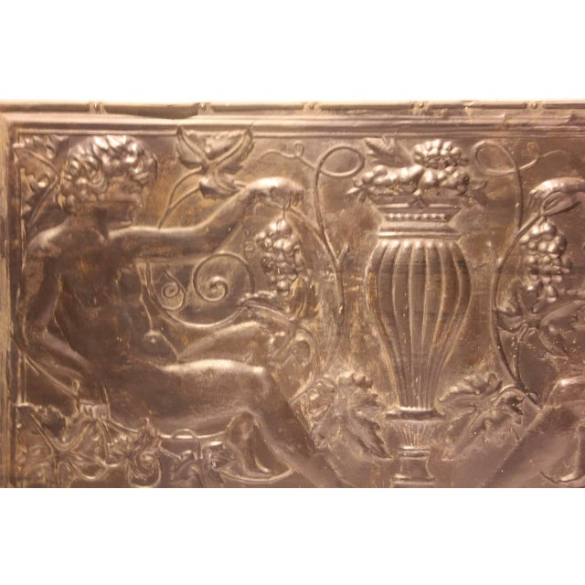 Mid 19th C. Antique Decorative Figural Tin Wall Panel For Sale - Image 4 of 4
