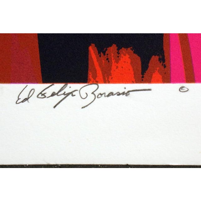 "Abstract Ed Felix Borasio ""Eclipse"" Hand Signed Art Serigraph For Sale - Image 3 of 5"