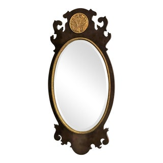Vintage Henredon Burled Walnut Oval Mirror With Beveled Edge and Gold Details For Sale