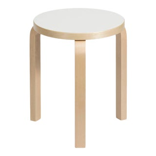 Authentic Stool 60 in Lacquered Birch with Laminate Seat by Alvar Aalto & Artek For Sale