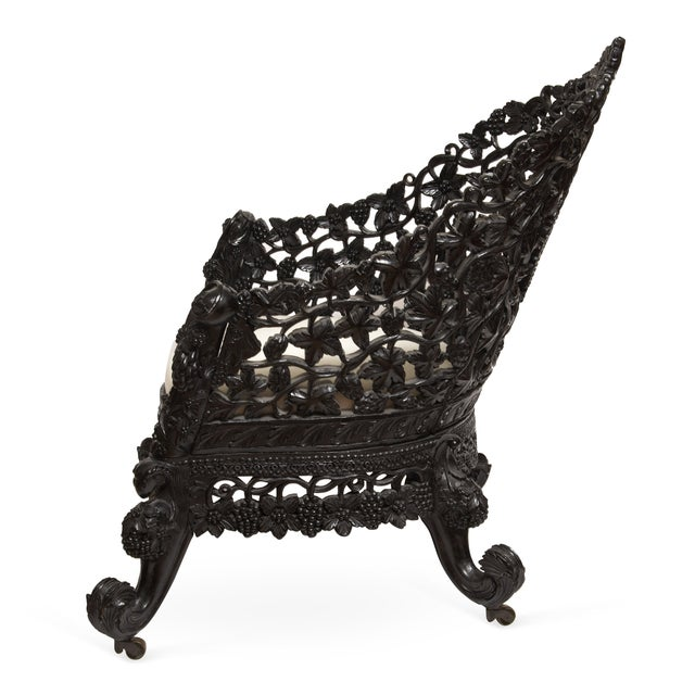 Antique 1850 Anglo-Indian Hand Carved Chair - Image 2 of 6