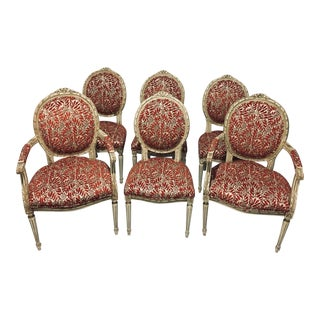 French Louis XVI Style Painted Dining Chairs - Set of 6 For Sale