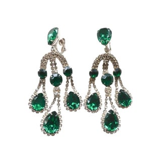 60s Napier Emerald Glass Earrings For Sale