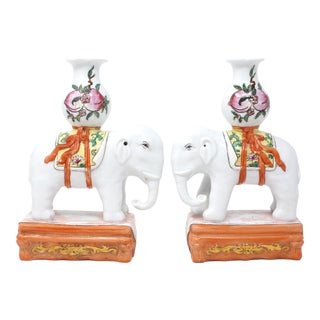 Vintage Chinoiserie Hand-Painted Ceramic Elephants Joss Stick or Candle Holders - a Pair For Sale
