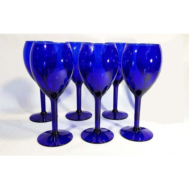 Late 20th Century Cobalt Blue Glass Stem Goblets - Set of 6 For Sale - Image 4 of 4