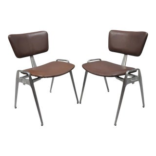 Vintage Cast Aluminium Stacking Side Chairs - A Pair For Sale