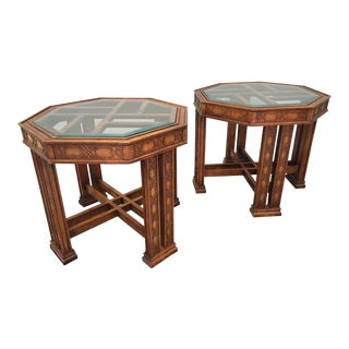 Vintage Henredon Asian Chinoiserie End Tables - A Pair