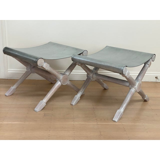 Mid-Century Modern Mid-Century Modern Cerused Finish X-Bench - a Pair For Sale - Image 3 of 13