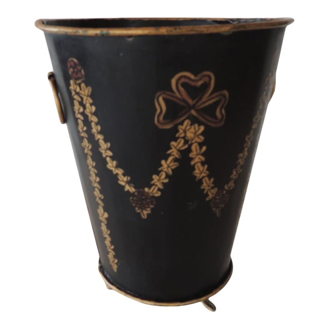 Tole Black and Gold Catchpot For Sale