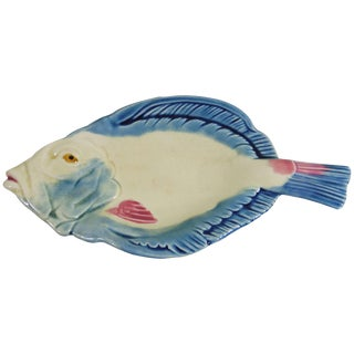 19th Century Japonisme Majolica Fish Pottery Platter For Sale