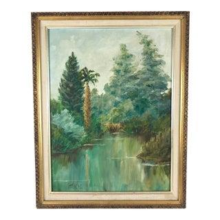 "Vintage Mid-Century Mk Hight ""Sleepy Lagoon"" Acrylic on Board Painting For Sale"