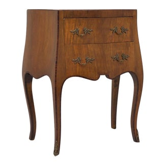 Late 18th Century Vintage Italian Small Walnut With Rosewood Inlay Commode Chest For Sale