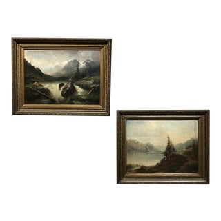 Pair 19th Century Framed Oil Paintings on Canvas by Regnier For Sale