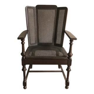 Transitional Woven Rattan Wing Back Chair For Sale