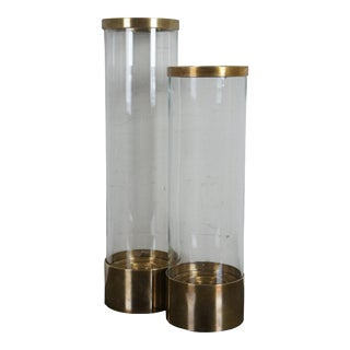 1980s Chapman Brass & Glass Hurricane Lanterns Candle Holders - a Pair For Sale