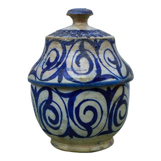 Antique Moroccan Blue Ceramic Box For Sale